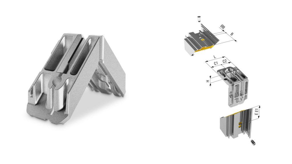 Squadra di giunzione angolare in alluminio pressofuso